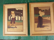 Pair Of Hudson River Inlay By Nelson Marquetry Wood Golfer Golf Wall Art