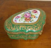 Antique French Decorated Porcelain Hand Painted Flowers Trinket Jewelry Box