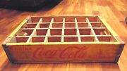 Old Drink Coca-cola Wooden Case Box Yellow And Red Coke Soda Adv 24 Bottle Crate