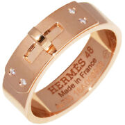Hermes Ring Pink Gold 4p Diamond Kelly Ring 48 Us Size 4.5-5 Auth 041912