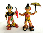 Clowns Papier Paper Mache Made In Mexico Hand Painted Fish Fishing Pole Umbrella