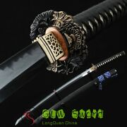 Boutique Clay Tempered T10 Stell Full Tang Real Japanese Katana Samurai Swords