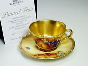 Royal Worcester Painted Fruits Cup And Saucer Pattern Cup And Saucer 01