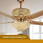 52 Reversible Ceiling Fan Light W/remote Timing Crystal Chandelier Lamp Used