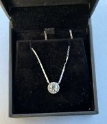 1 Ct Total Round Diamond Necklace 14k Solid White Gold Bezel - 3/4 Ct Main Stone