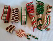 Department 56 Soft Plastic Ribbon Candy Christmas Ornaments Lot Of 7