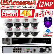 Hikvision Security Camera System Nvr 8ch 4k 12 Megapixel Poe / 8mp Dome W Audio