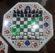 24and039and039 White Marble Chess Table Top Pietra Dura Inlay Children Game Kids F3