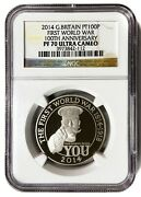 2014 Great Britain Pt100p First World War 100th Anniversary Ngc Pf70 Ultra Cameo