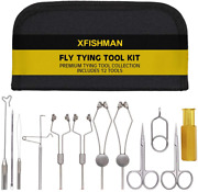 Fly Tying Tool Kit 7-8-12 In 1 With Bobbin Finisher Scissors Vise Hackle Hair