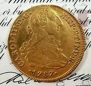 Peru Charles Iii 1787 Lima Mint Mi 8 Escudos - Spainish Colonial Gold Coin