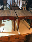 Pair Of Mahogany Mid Century Formica Top End Tables / Side Tables By Mersman
