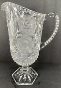 Bleikristall Lead Glass Crystal Footed Pitcher Frosted Roses Hand Cut Read