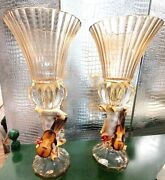 Cevik Glass And Capodimonte Music Theme 19 1/2'' H Glass Vases