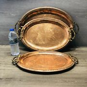 Rare Pakistan Copper Nesting Trays Antique 3 Pc Hand Carved Serving Tray Peshwar