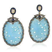 18k Gold Carved Agate Dangle Earrings Sapphire Diamond 925 Silver Jewelry