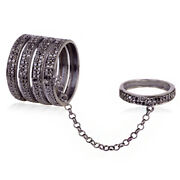 1.35ct Pave Black Diamond Full Finger Conector Ring 925 Sterling Silver Jewelry