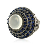13.19ct Sapphire Agate Diamond 18k Gold 925 Silver Dome Ring Jewelry