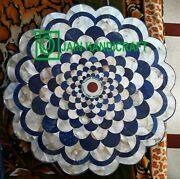 30and039and039 Marble Antique Table Top Center Coffee Inlay Blue Lapis Room Home Decor M1