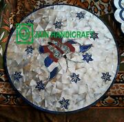 30and039and039 Marble Antique Table Top Center Coffee Inlay Blue Lapis Room Home Decor M4