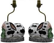 Vintage Chelsea House Black And White Bunny Lamp - A Pair