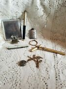 Foe Antique Handcrafted Watch Fob W/ Other Items Fountain Pen, Pocket Knife, Etc