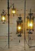 Retro Gothic Tortoise Shell Style Tension Pole Lamp And 2 Swag Chain Hanging Lamps