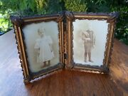 Antique Victorian Hinged Double Picture Frame