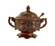 Sugar Candy Bowl Serving Dish With Lid And Spoon, Decorative Antique Copper