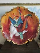 Limoges Coronet France Handpainted Charger Plate Birds Signed A. Broussillon 16