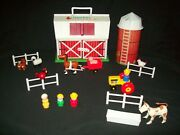 Vintage Fisher Price Little People Farm 2501 Complete Barn Silo Animals Tractor