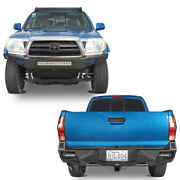 Full Width Front+rear Bumper Combo W/skid Plate D-rings Fit 05-15 Toyota Tacoma