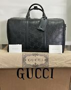 625768 Gg Embossed Duffle Bag Black Perforated Leather Travel Carry-on