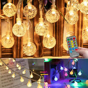 9m/15m 60/100led Twinkle Crystal Globe String Lights Changeable Dimmable Outdoor