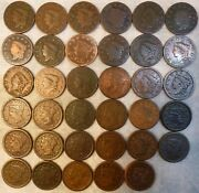 Large Cent U.s.a. 33 Coins Lotall Different Years18161856 Goodfine Quality