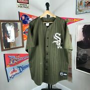 Vintage Pinstripe Mlb Chicago White Sox Majestic Jersey Army Green Menand039s Xl