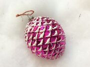 """Christmas Ornament Glass Pine Cone Japan Vintage 3"""" Pink Pinecone"""