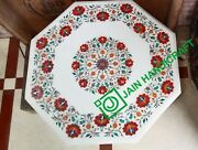 30and039and039 White Marble Table Top Coffee Malachite Mosaic Flower Inlay Home Decor B2