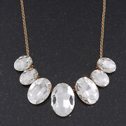'gorgeous Rocks' Oval Crystal Choker Necklace In Gold Plating - 34cm Length/
