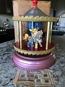 Rare Vintage Store Display Merry-go-round Carousel Tin Wind-up Toy +box Cowboys
