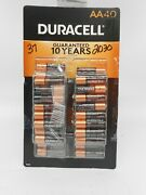 Duracell Coppertop Alkaline Aa Batteries-37ct Dated 2030 Box Heavily Damaged