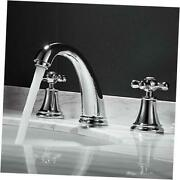 3 Hole Lavatory 2 Handles Widespread Bathroom Faucet By ,hot And Cold Water
