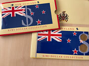 New Zealand Kiwi Dollar Collection 1 And 2 Uncirculated Coin And Note Set