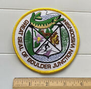 """Great Seal Of Boulder Junction Wisconsin Muskie Capital 4"""" Round Souvenir Patch"""