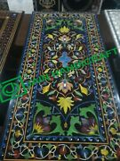48x30 Black Marble Table Top Coffee Dining Inlay Lapis Mosaic Antique L2