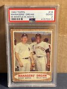 1962 Topps Managers Dream 18 Mickey Mantle Willie Mays Psa Vintage Card Good