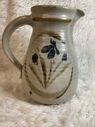 Vintage Ceramic Art Pottery Stoneware Speckled Pitcher Handle 8.5andrdquo Tall Signed