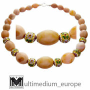 Apricot Achat Halskette Collier Emaille Silber Enamel Agate Necklace 🌺🌺🌺🌺🌺
