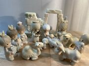Precious Moments Nativity Come Let Us Adore Him W/ Wall And Angel Mint