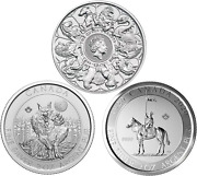 2021 Rcmp Werewolf Canada And Queenandrsquos Beasts Gb - 3 X 2oz Pure Silver Coins